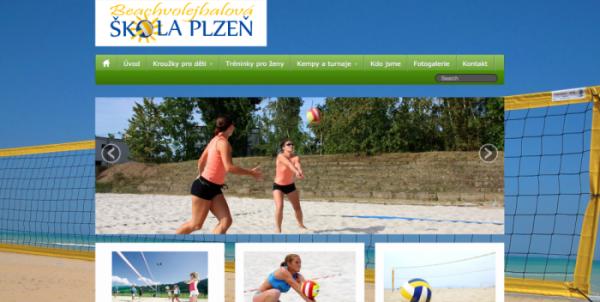 Webová stránka beachvolejbalové školy v Plzni