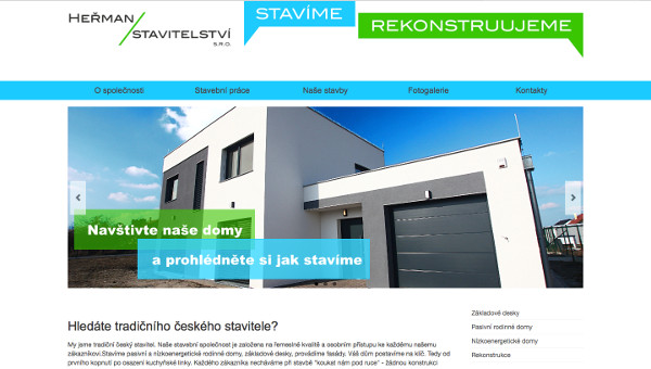 Nový web stavební společnosti